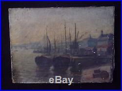 Peinture ancienne Port de BORDEAUX 19ème Huile sur Toile / Old French Painting