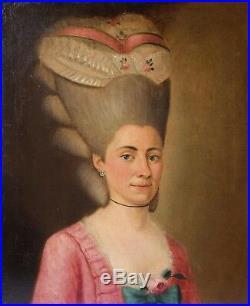 Peinture ancienne XVIIIe, Portait de femme, Coupe de cheveux 18ème