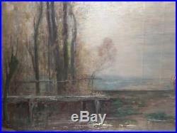 Peinture ancienne de paysage avec des vaches et un cavalier