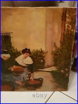 Peinture ancienne scène de vie, huile sur toile fin XIX ème s