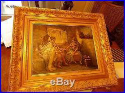 Peinture ancienne sur toile encadré signé F. VERNOS