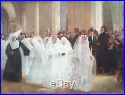 Peinture de Jules Octave Triquet (1867 1914) La Communion, Huile sur toile