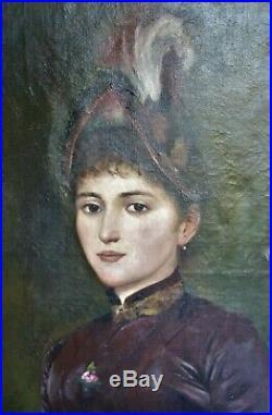 Peinture-huile-f. Raoul Larche-portrait-jeune Femme-loie Fuller-sculpture