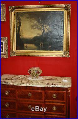 Peinture huile sur toile Les baigneuses reproduction d'après Corot signé Roche