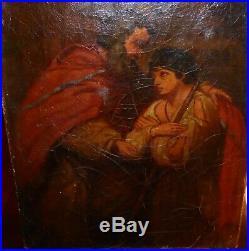 Peinture huile sur toile Moïse scène biblique début XIXe