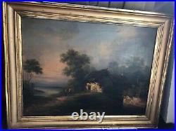 Peinture huile sur toile XIX signée, paysage animé, barbizon