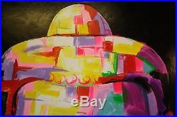 Peinture / huile sur toile femme Bouddha multicolore