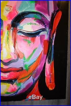 Peinture / huile sur toile femme Bouddha multicolore | Peinture sur ...