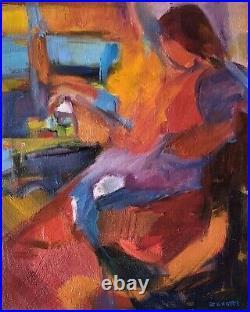 Peinture huile sur toile signée Josette Zenatti, portrait (1930-2008) PERSONNAGE