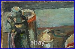 Peinture nature morte Pinchus KREMEGNE (1890-1981), Russie, pain, oeuf, viande