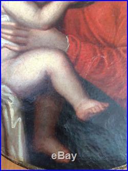 Peinture religieuse fin XVIIe vierge à lenfant Louis XIV french painting
