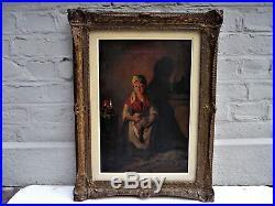 Peinture scène intérieur 19th Ecole belge Jacques Carabain Amsterdam belgique