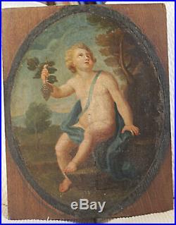 Peinture sur toile appliquée sur un support bois probablement XVII siècle
