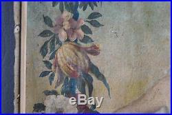 Peinture sur toile époque XVIIIème femme nue au chérubin