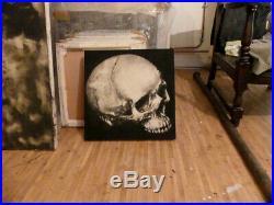 Peinture sur toile vanité crane nature morte