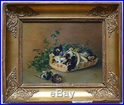 Petit tableau peinture Huile Nature morte Fleurs pensées début 19e cadre Empire