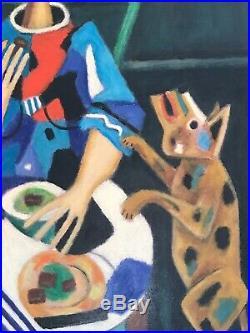 Picasso Cubisme Femme Et Son Petit Chien Peinture signée Roland CHANCO 1914-2017
