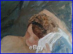 Piero PORACCIA XXème LA FEMME NUE ALLONGée Huile sur toile signée & encadrée