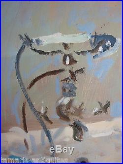 Pierre LELONG (1908-1984) GRANDE HUILE SUR TOILE JEUNE FEMME DANS SON BAIN
