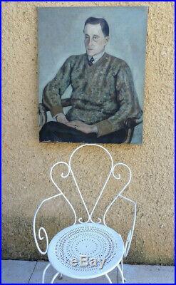 Pierre Marseille 1896-1980. Grand & Beau Portrait D'homme Élégamment Habillée
