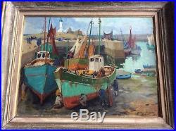 Pierre PLOUHINEC Port de Lesconil Ec Bretonne Hst 46x61 cm Vers 1950 Etat Sup