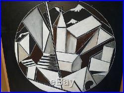 Ponce de Leon Huile sur toile Pueblo 5 Cubisme