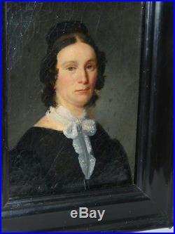 Portrait De Femme, Peinture Sur Toile Du XIX ème Siècle, Cadre Noirci
