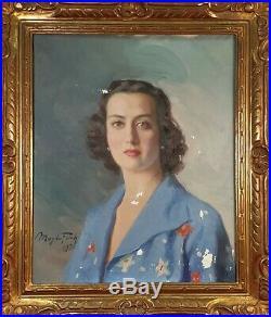 Portrait De Femmes. Huile Sur Toile. Magda Folch Solé. 1950