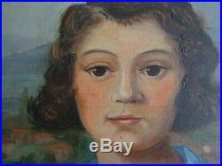 Portrait De Jeune Fille Au Chien-peinture Signée Des Années 30-école Lyonnaise