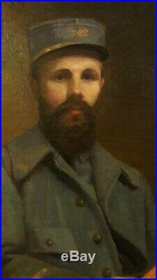 Portrait Dun Soldat En Uniforme Assis Huile Sur Toile Aimée Buquet 1919