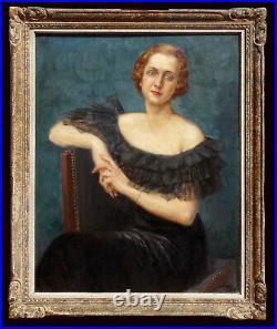Portrait d'élégante Art Déco 1935, Lucien JONAS