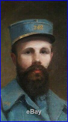 Portrait d'un Soldat en uniforme assis Huile sur toile Aimée BUQUET 1919