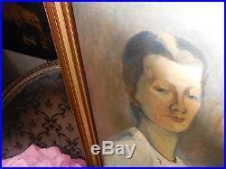 Portrait de femme des années 40 ECOLE DE PARIS gout A. FAVORY