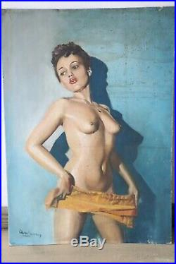 Portrait de femme nue Pin Up peinte à l'huile sur toile des années 1960