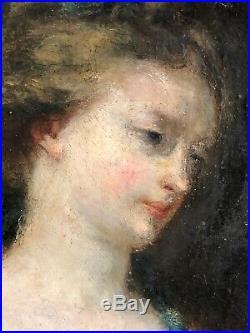 Portrait de femme peinture sur toile école française XVIII a priori XIXe