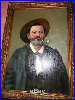 Portrait de l, homme au chapeaudaté 1909 signé J. LAMBE