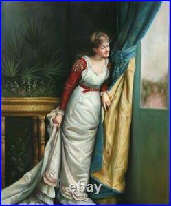 Portrait femme tableau peinture huile sur toile signée / Hand Painted Painting w