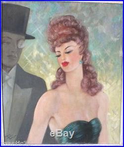Portrait huile sur toile peinture tableau art déco gout Jean Gabriel Domergue