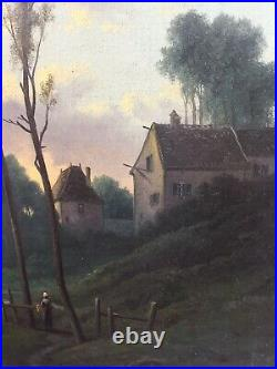 R. T STUART huile sur toile école de Barbizon paysage au couché de soleil