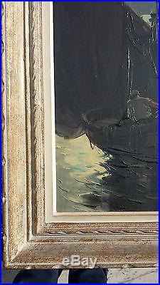 Raphael LUDOVIC Huile sur toile Tableau XXe Peinture CLAIR DE LUNE Tartane Peche