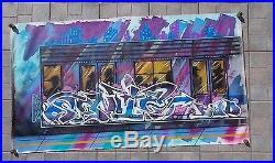 Rare Toile Originale de Sonic Bad, NYC Subway Train Graffiti, Street Art