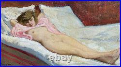 Rare curiosa grande huile sur toile nu Belle époque tableau signé femme allongée