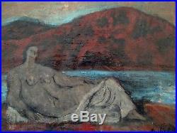 Rare huile sur toile de Jean Souverbie(1891-1981), Nu au bord de la rivière