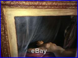 Rare peinture orientaliste du XIXe Huile sur toile avec son cadre en bois doré