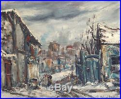 Raymond BESSE Huile sur toile Saint-Ouen Neige Paris Sacré-Coeur Impressionnisme