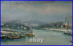 Raymond Besse Peintre Montmartre Huile Usines Bords De Seine Epinay / Seine