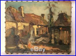 Rene Le Forestier Huile Sur Toile Scene De Vie Bretonne Paysanne Feu C1139