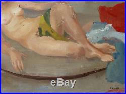 Robert Liard Tableau 1950 / Peinture Originale Femme Nue Allongee Ecole Belge