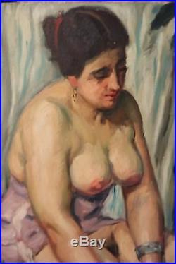 Roger GRILLON Nu Huile sur toile Vers 1920 Rare