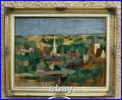 Roger Grillon 1881-1938. Grand & Lumineux Paysage. Le Village Au Bord De L'eau